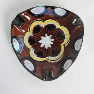 Vintage MCM Hand Painted Ceramic Italy Art Ashtray